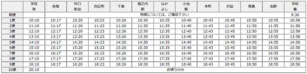 小出・堀之内面(冬時刻表)