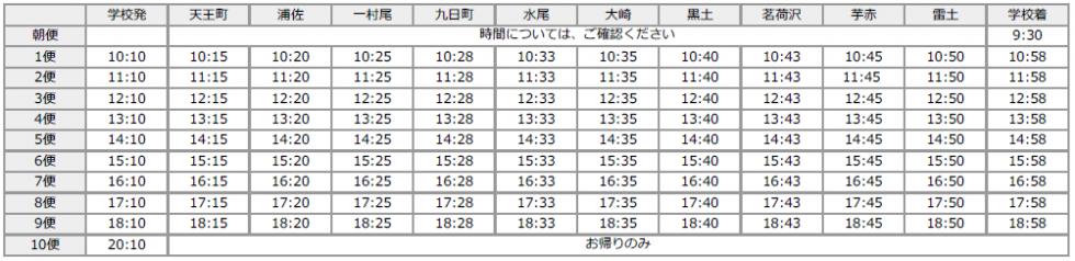 大和方面(冬時刻表)