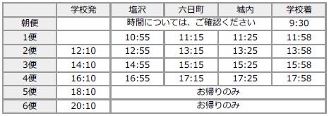 六日町・塩沢方面(冬時刻表)